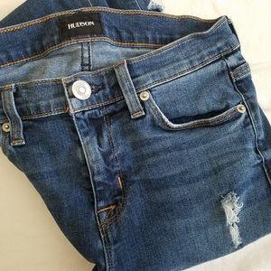 Hudson Nico Midrise distressed skinny jeans